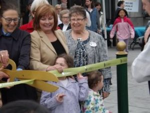 Cutting the ribbon!